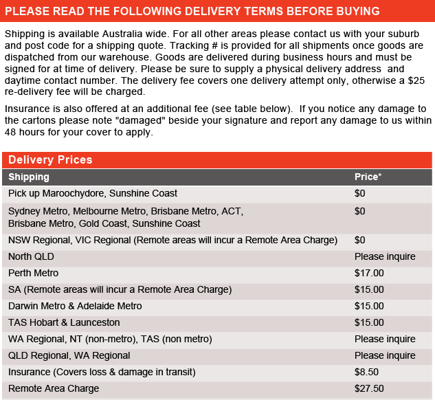 Delivery Information - If this image does not load please contact us on 1800 853 315